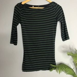 French Connection Navy Green Striped Small Shirt